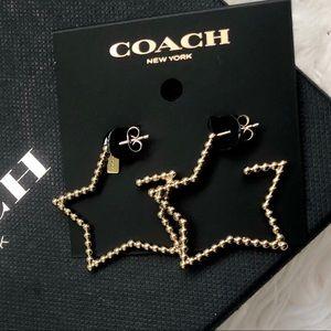 NWT COACH F37963 Oversized Star Gold Earrings